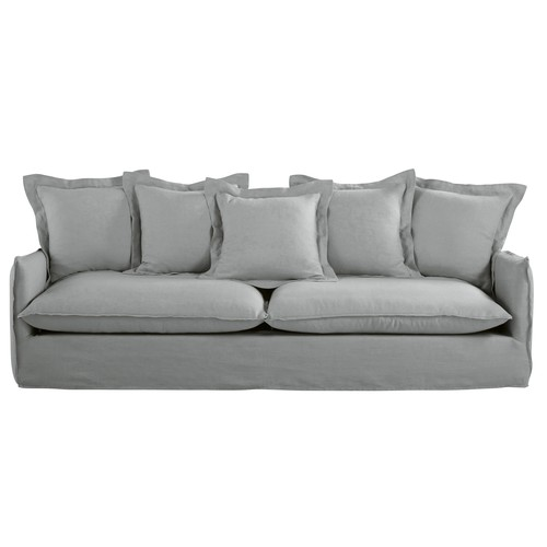 Light Grey 5-Seater Washed Linen Sofa
