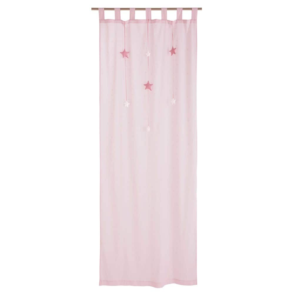LILLY Pink Cotton TabTop Curtain 102 x 250 cm