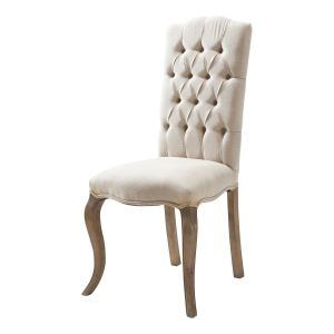 Linen and ash button chair in ecru