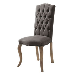 Linen and ash button chair in grey