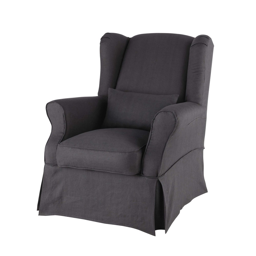 Linen armchair cover in charcoal grey