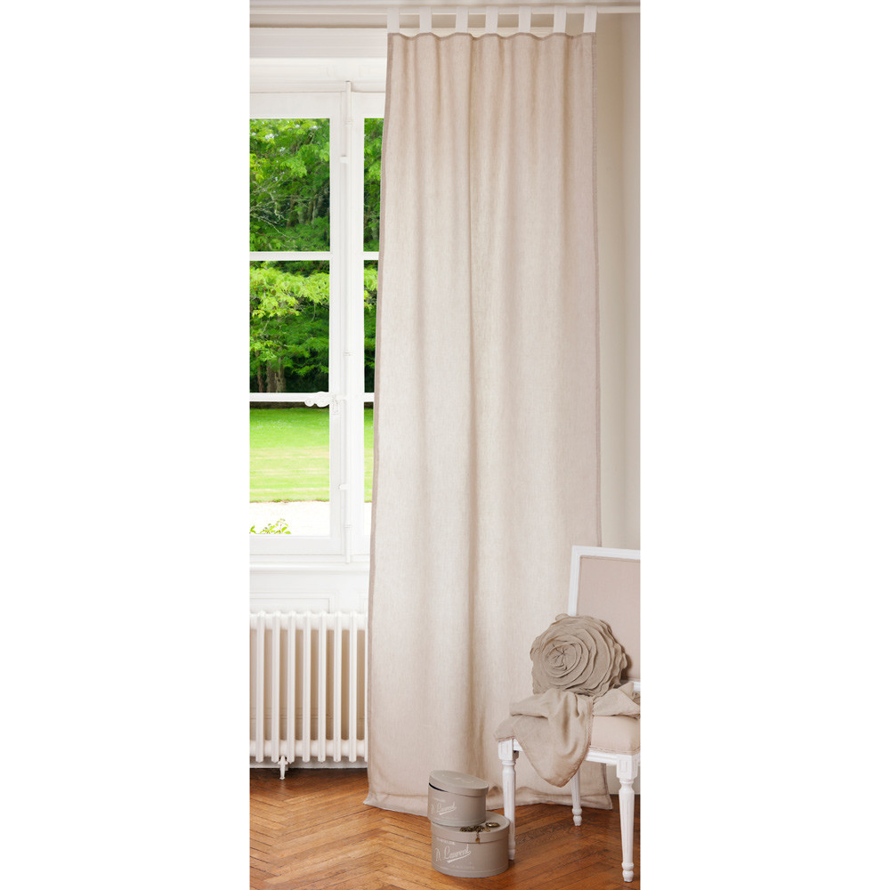 Linen tab top double sided curtain in ecru and white 105 x 300cm