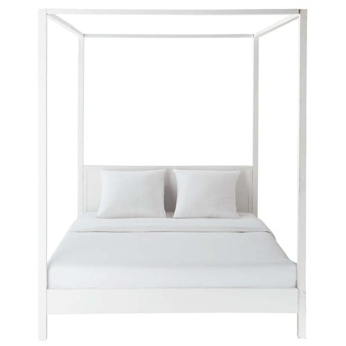 lit baldaquin 160x200 en pin blanc cass celeste maisons du monde. Black Bedroom Furniture Sets. Home Design Ideas