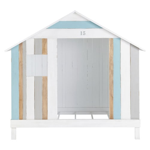 lit cabane enfant 90 x 190 cm en bois blanc et bleu oc an maisons du monde. Black Bedroom Furniture Sets. Home Design Ideas