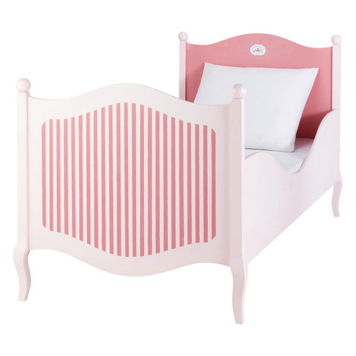 lit enfant 90x190 en bois rose et blanc gourmandise. Black Bedroom Furniture Sets. Home Design Ideas
