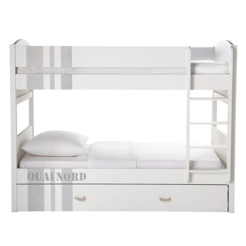 lit superpos 90x190 en bois blanc quai nord maisons du monde. Black Bedroom Furniture Sets. Home Design Ideas