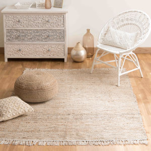LODGE cotton and jute woven rug 200 x 300cm