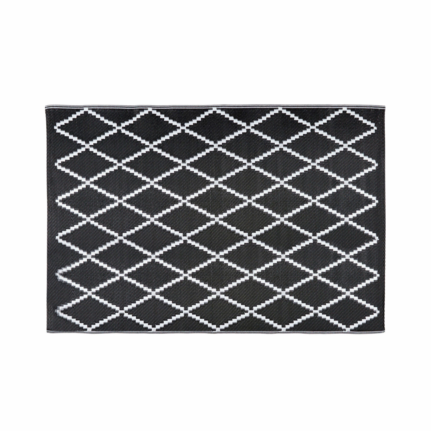 Black And White Geometric Rugs For Sale: Black And White Geometric Motif Outdoor Rug 120x180