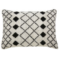 Ecru wool and cotton cushion with black motifs 40 x 60 cm