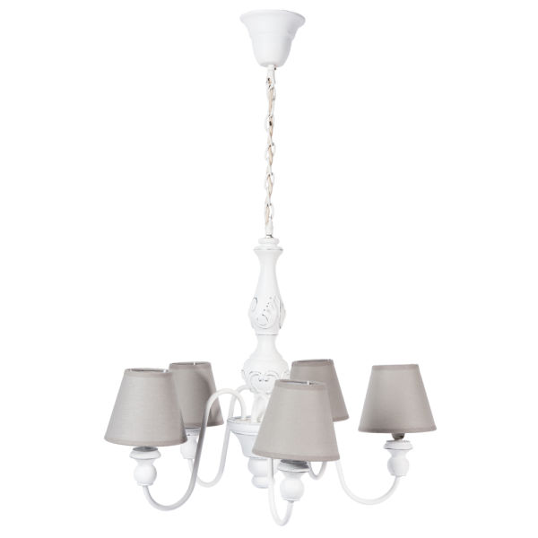 Lustre 5 branches blanc D 55 cm BOVARY (photo)