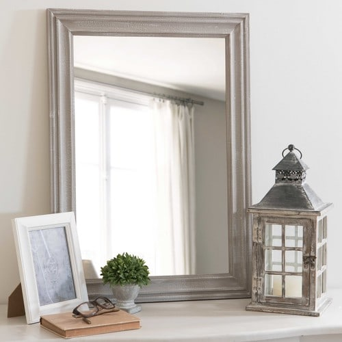 Lyna distressed grey paulownia mirror 50 x 70 cm maisons for Mirror 50 x 70