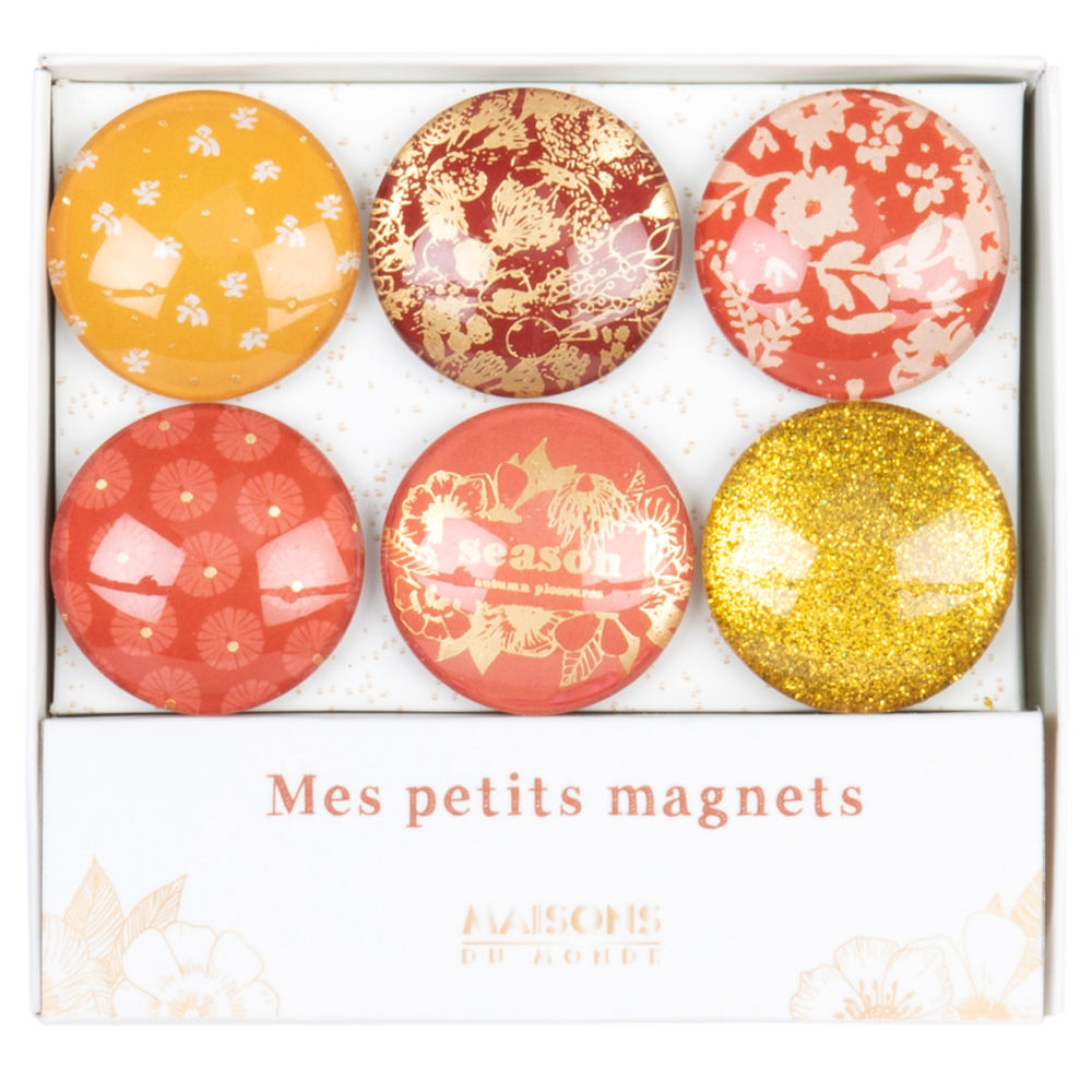 Magnets bulles jaune, orange et rose à motifs (x6) (photo)