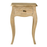 Mango wood and acacia bedside table with drawer Colette