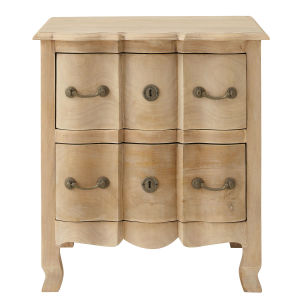 Mango wood and acacia bedside table with drawers