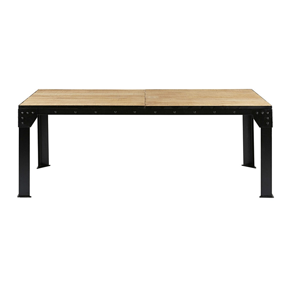 Mango wood and black metal extendable dining table L 200cm