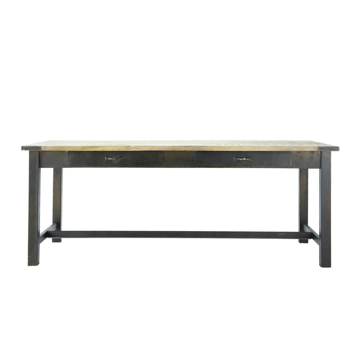 Mango wood and metal dining table l200 maisons du monde