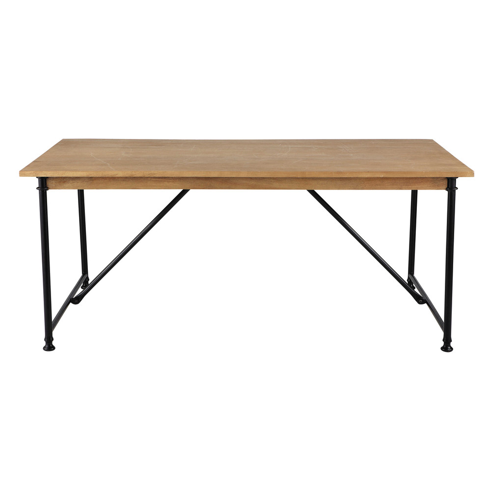 Mango wood and metal dining table W 180cm