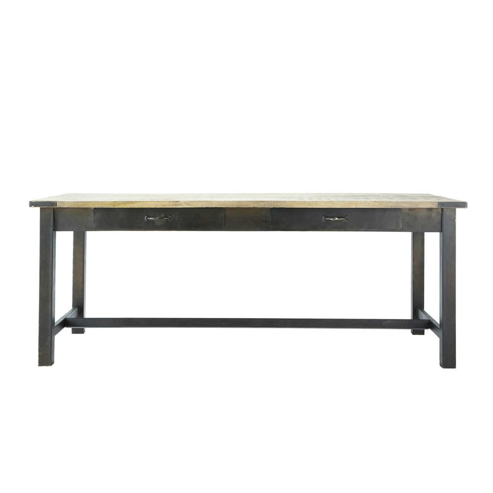 Mango wood and metal dining table W 200cm