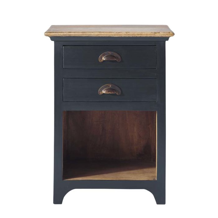 Mango Wood Bedside Table With Drawers In Grey W 45cm Chinon Maisons Du Monde