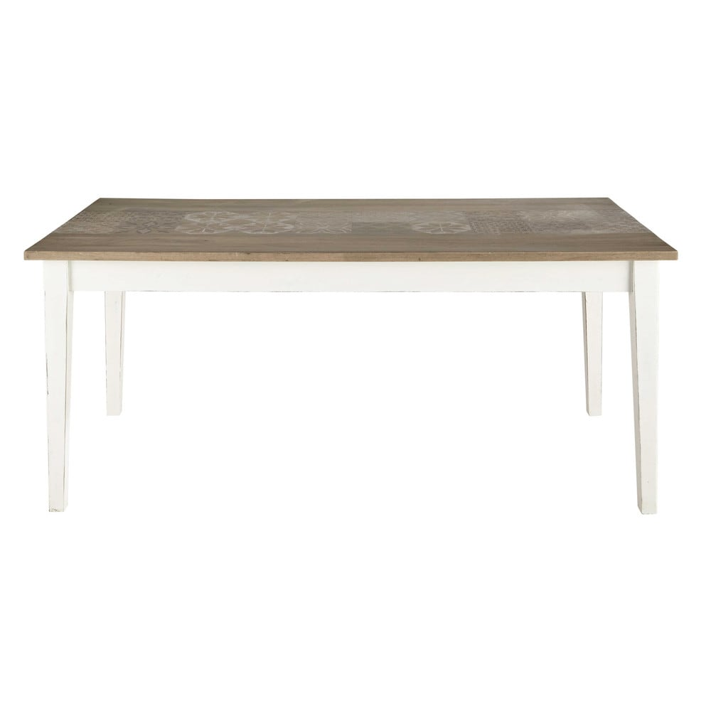 Mango wood dining table in white W 180cm