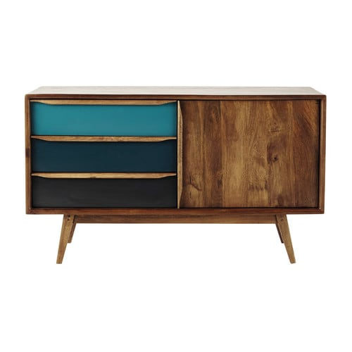mango wood vintage sideboard in blue w 127cm janeiro maisons du monde. Black Bedroom Furniture Sets. Home Design Ideas