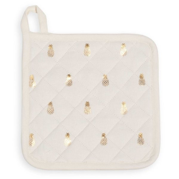 Manique motif ananas en coton GOLD PINEAPPLE