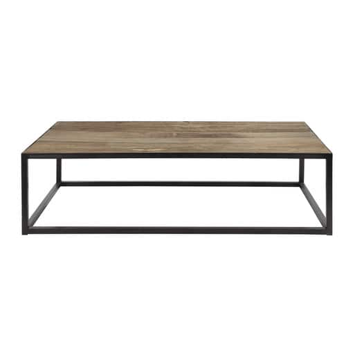 mesa baja de metal y madera an 130 cm aspen maisons du monde. Black Bedroom Furniture Sets. Home Design Ideas