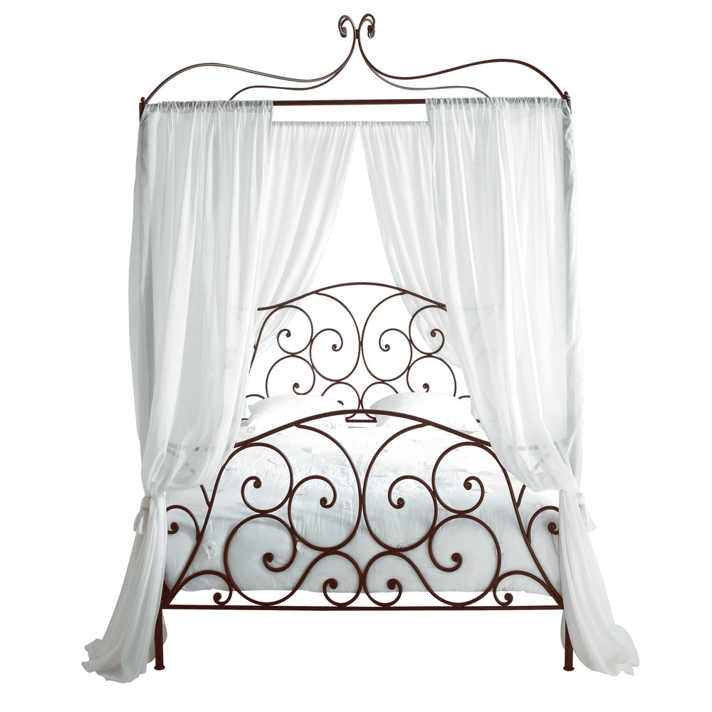 Metal 140 x 190cm double fourposter bed in brown