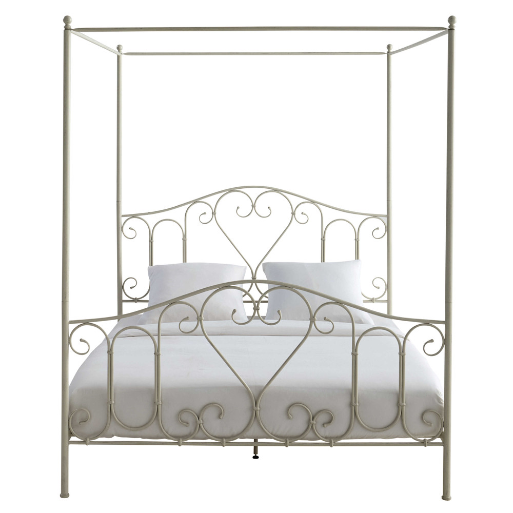 Metal 160 x 200cm king size fourposter bed in ivory
