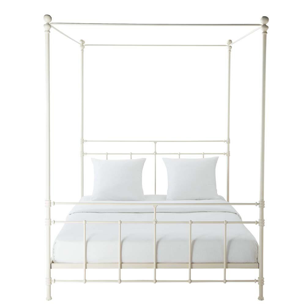 Metal 160 x 200cm king size fourposter bed in white