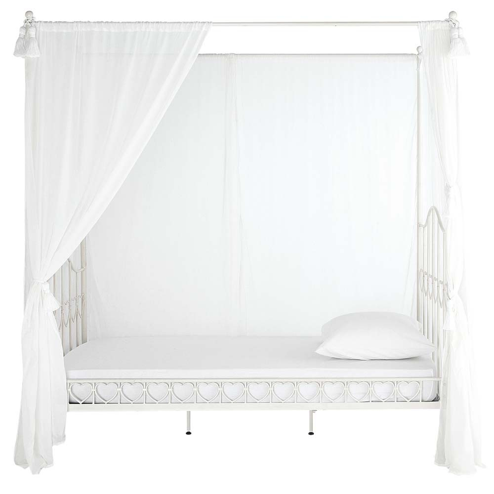 Metal 90 x 190cm childs fourposter bed in ivory