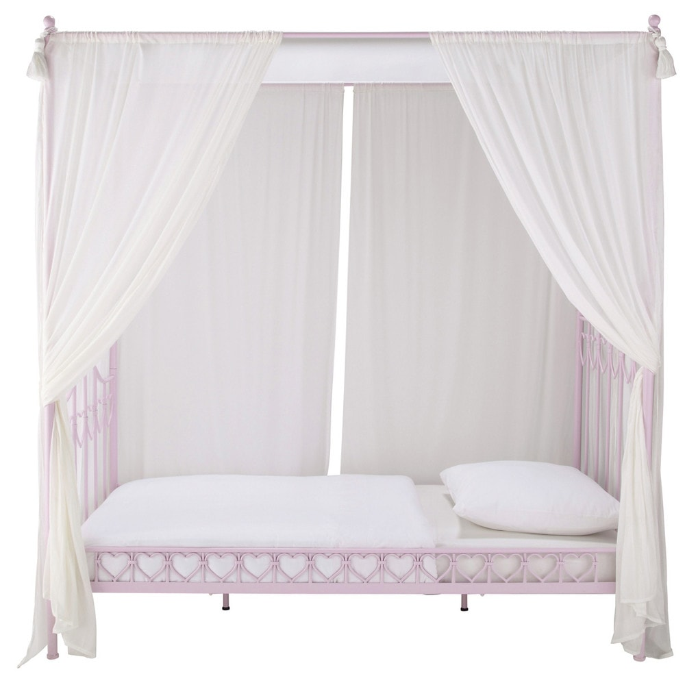 Metal 90 x 190cm childs fourposter bed in pink