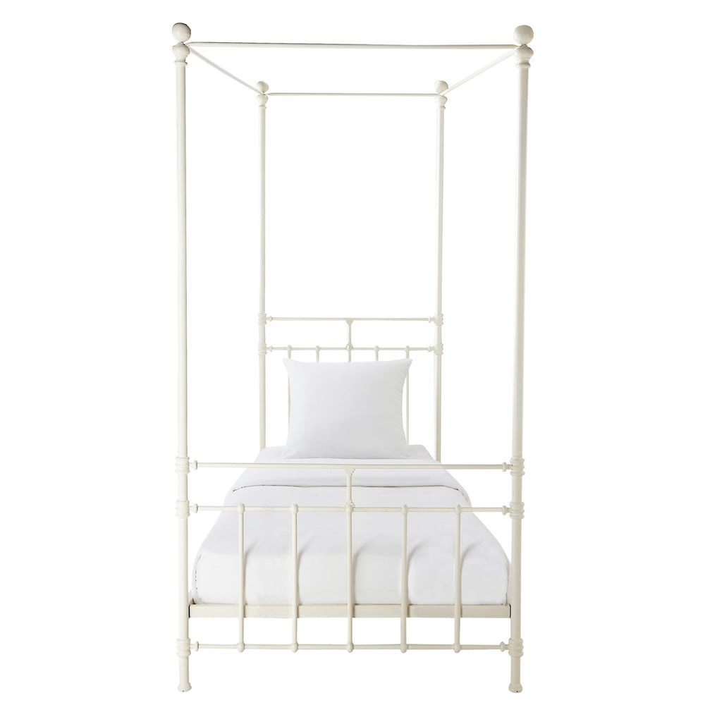 Metal 90 x 190cm fourposter bed in white
