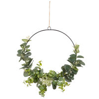 Metal and Artificial Leaf Wreath Wall Art 26x26 Eucalyptus