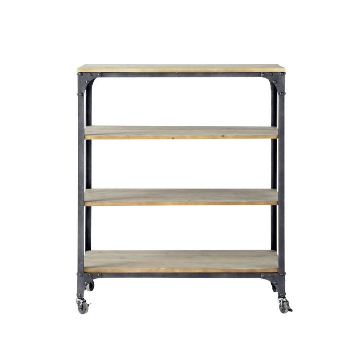 Metal and fir industrial console table on castors in charcoal grey ...