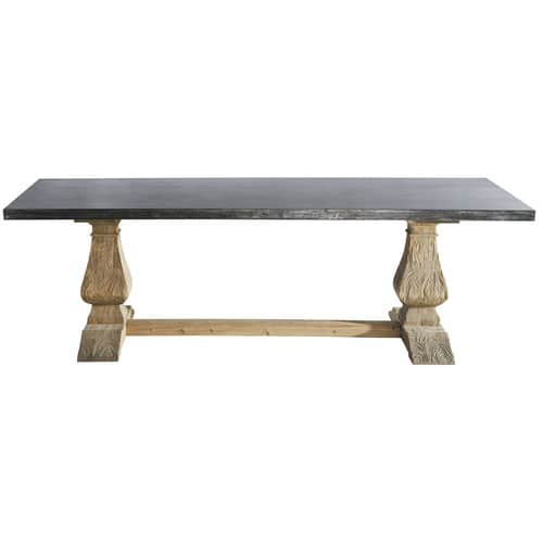 Metal And Recycled Wood Dining Table W 240cm Lourmarin Maisons Du Monde