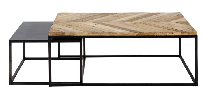 Metal And Recycled Wood Nested Tables Chevron Maisons Du Monde