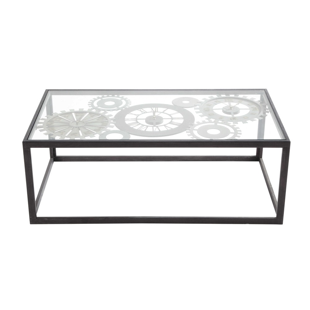 Metal And Tempered Glass Coffee Table With 3 Clocks W 110cm Maisons Du Monde