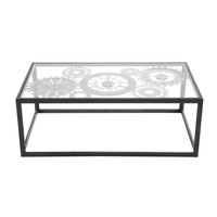 Metal and tempered glass coffee table with 3 clocks W 110cm