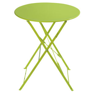 Metal folding garden table in lime green D 58cm