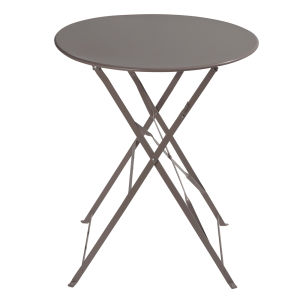 Metal folding garden table in taupe D 58cm