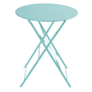 Metal folding garden table in turquoise D 58cm