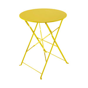 Metal folding garden table in yellow D 58cm