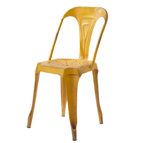 Metal industrial chair in yellow