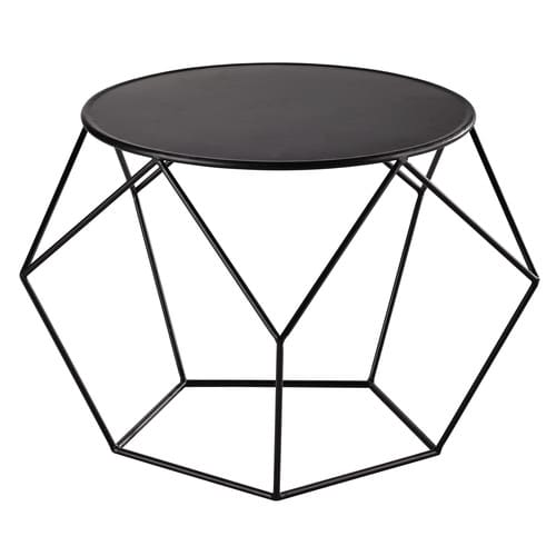 metal round coffee table in black d 64cm prism maisons. Black Bedroom Furniture Sets. Home Design Ideas