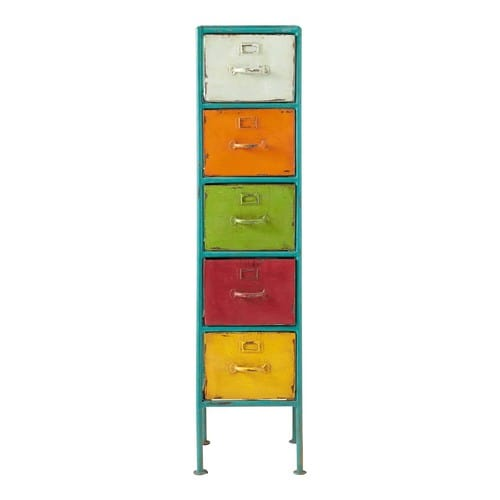metal storage tower unit multicoloured h 128cm mojito maisons du monde. Black Bedroom Furniture Sets. Home Design Ideas