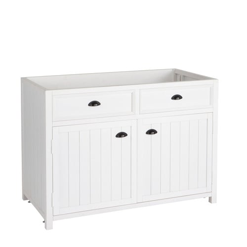 meuble bas de cuisine en bois blanc l 120 cm newport maisons du monde. Black Bedroom Furniture Sets. Home Design Ideas
