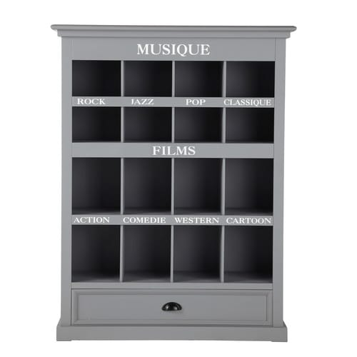 meuble cd dvd bois gris newport maisons du monde. Black Bedroom Furniture Sets. Home Design Ideas