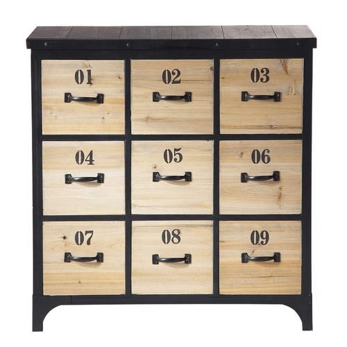 meuble cd dvd en m tal noir h 78 cm docks maisons du monde. Black Bedroom Furniture Sets. Home Design Ideas