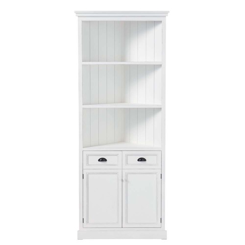 Meuble d 39 angle en pin blanc l 84 cm newport maisons du monde for Meuble d angle blanc
